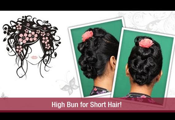 High Bun For Short Hairkhoobsurati - Juda hairstyle for short hair
