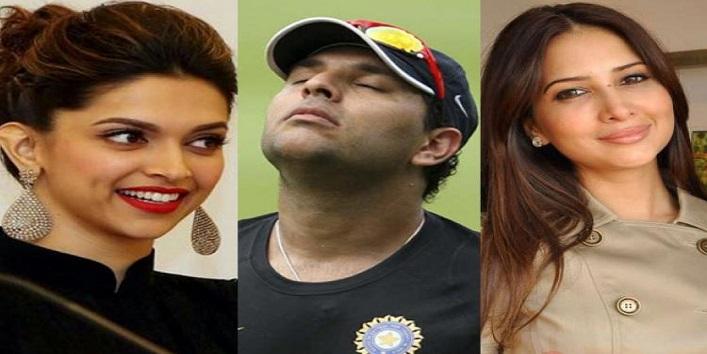 Deepika Padukone, Kim Sharma and Yuvraj Singh