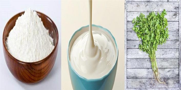 Coriander with rice powder and yoghurt