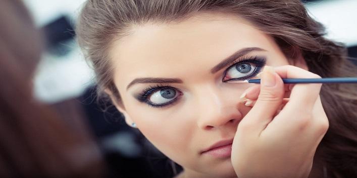 Apply kajal on your waterline, followed by eyeliner
