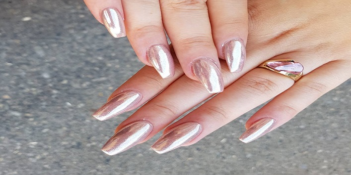 Pink chrome nails