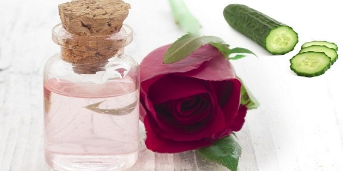 Rose-water-and-cucumber-juice-for-combating-open-pores
